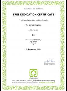 EFORESTS SAMPLE Tree Dedication Certificate