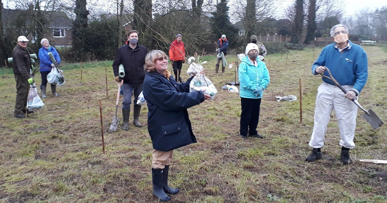 Brewers Green  -  Norfolk  -  Socially Distanced Tree Planting Volunteers