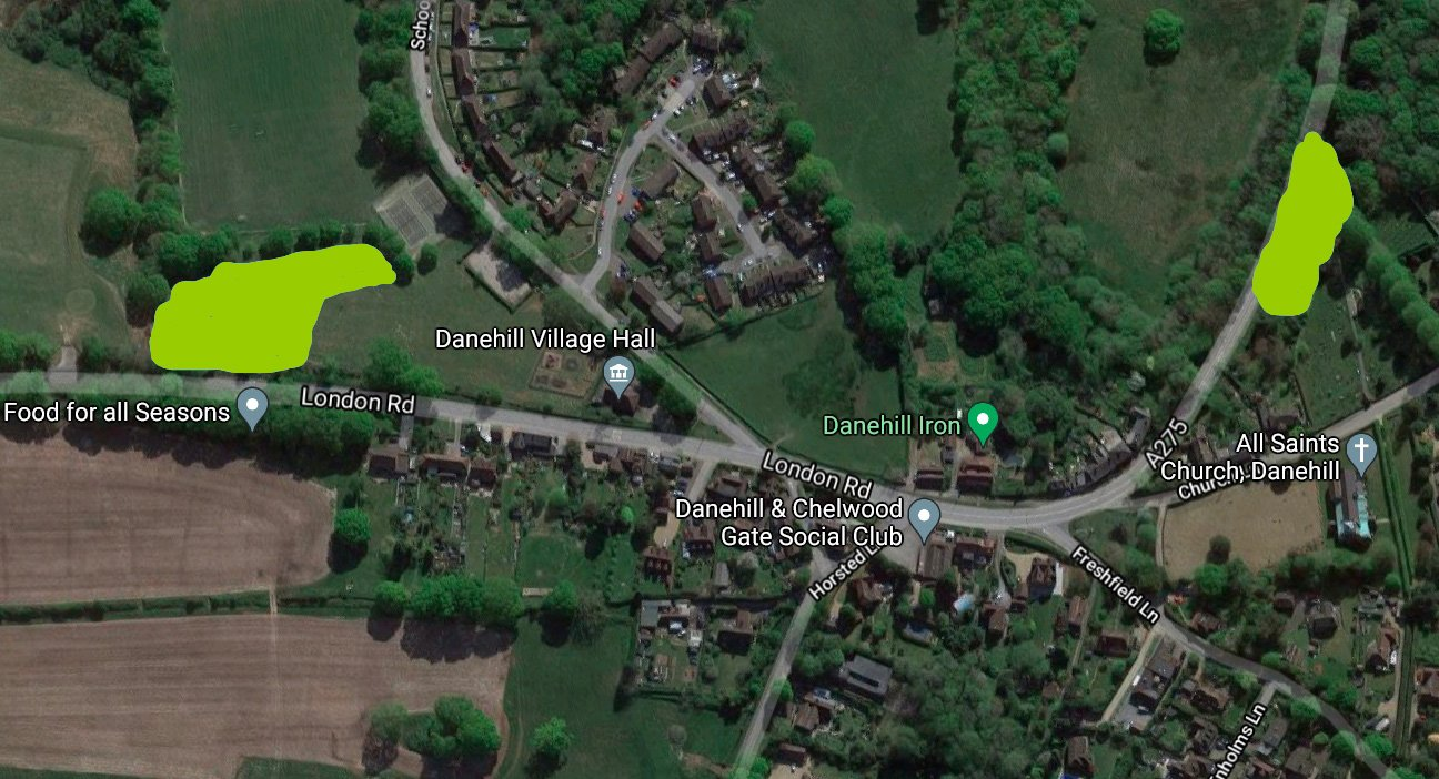 Danehill Community Woodland  -  East Sussex  -  Aerial Map Showing Tree Planting Zones 2021