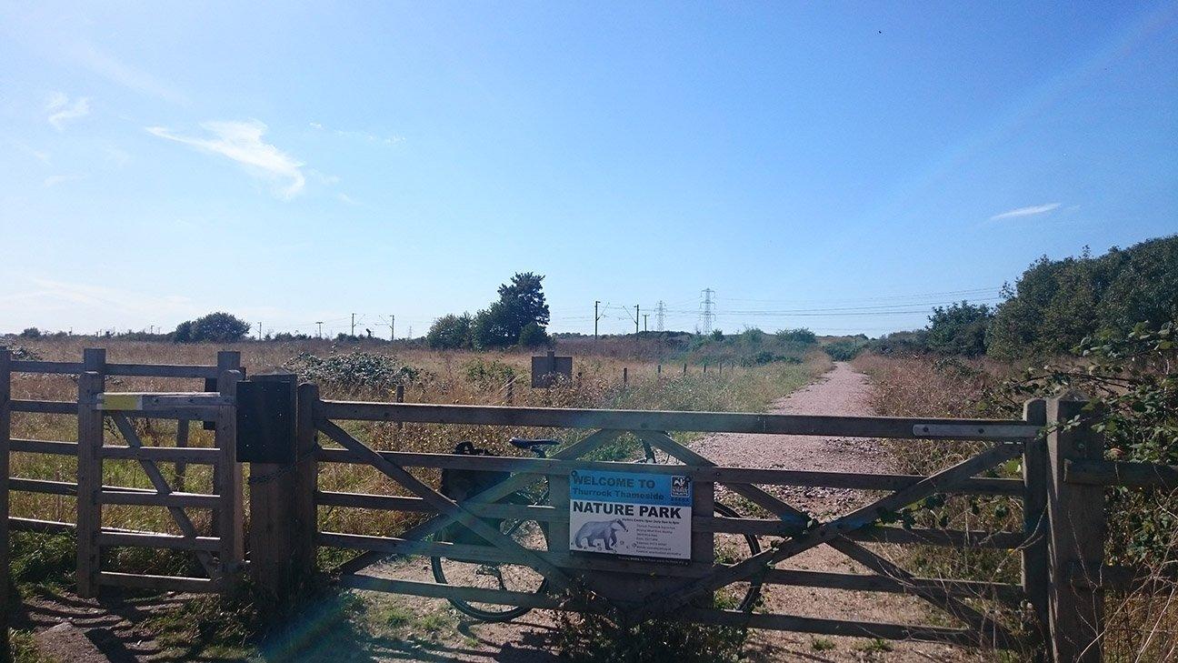 Thameside Nature Park  -  Essex  -  Railway Path Entrance